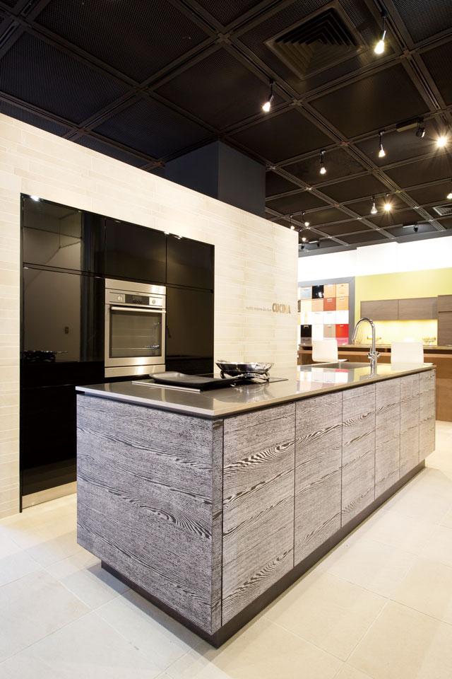 すべてを扉の中に収納することで、スッキリとしたキッチン周りを実現。扉の開け方や持ち手、キャビネット内部の仕様なども多数あるバリエーションからチョイスできる。