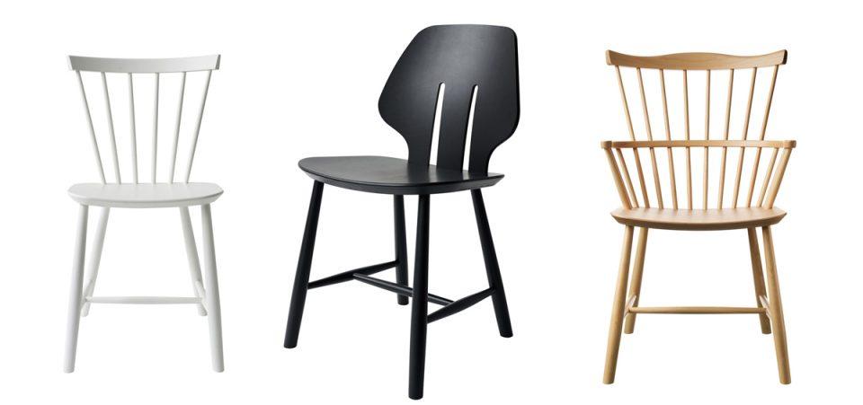 左:ポール M・ヴォルタの「J46」は FDB を代表するシンプル デザイン。美しさ・丈夫・買いやすさは、まさにデンマーク 国民を虜にした名作。34,000 円(写真はホワイト) 中:アイヴァン A・ヨハンソンデザインの「J67」。シンプルな 中に日常の美的な感覚を研ぎ澄ますような斬新なフォルムで 人々を驚かせた逸品。39,000 円(写真はブラック) 右:ボーエ・モーエンセンの代表作のひとつ「J52B」。ビーチ 材を使用した古典的なデザインの椅子は、広い座面と包み 込むような背もたれが特徴。79,000 円(写真はナチュラル)